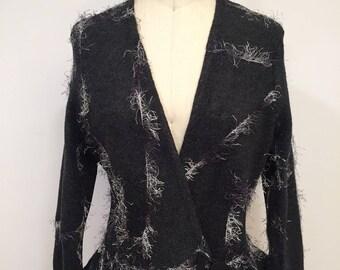 Olimpias One Of A Kind Jacket, Dark Gray Jacket, Fleece Fabric Jacket, Peplum, Classic Jacket
