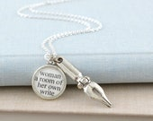 Virginia Woolf Writer Necklace - Literary Necklace - Pen Necklace - Writer Gift - Gifts For Writers - Literary Jewelry for Writers
