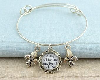 Friendship Bracelet / Three Musketeers Bracelet / Fleur De Lis Bracelet / Literary Gifts for Friends / Book Lover Jewelry / Friend Gift