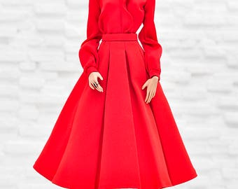 ELENPRIV red silk blouse for Fashion royalty FR2 and similar body size dolls