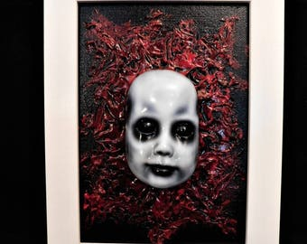 OOAK Original 5x7 Dead Doll Face Painting with Frame