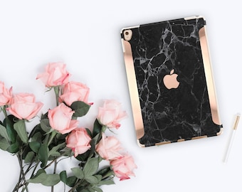 "Black Marble iPad Case and Rose Gold Detailing iPad Pro 9.7 / iPad Pro 10.5"" Smart Keyboard compatible Hard Case - Platinum Edition"