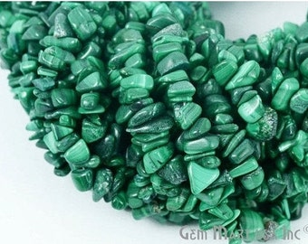 Single Strand Malachite Chip Beads, 34 Inch Full Strand, Wholesale Price.(CHMC-70001)