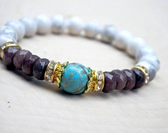 Womens Gift, Teen Gift, Howlite Gemstone Yoga Bracelet, Mala, Mala Bracelet, Mala Bead Bracelet, Bohemian Bracelet, Handmade Bead Bracelet