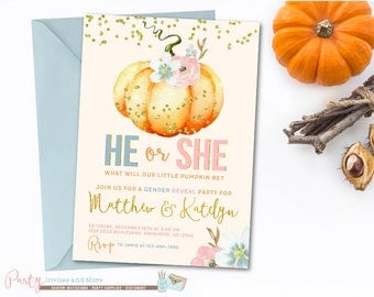Pumpkin Gender Reveal Invitation, Pumpkin Invitation, Pumpkin Baby Shower Invitation, Fall Gender Reveal Invitation, Gender Reveal
