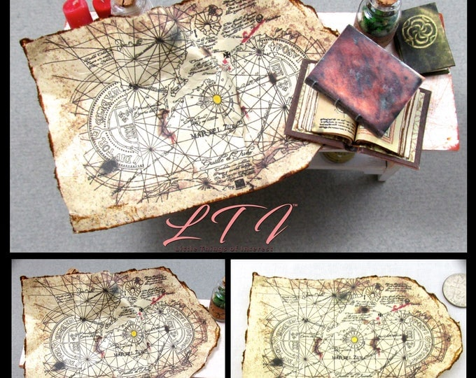 "OLD SPANISH TREASURE Map Miniature Dollhouse 1:12 Scale One-Eyed Willy Pirate Goonies Treasure Map Buried Lost Treasure ""X"" Marks The Spot"