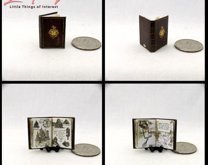 SIR FRANCES DRAKE'S Diary Miniature Book Dollhouse 1:12 Scale Book Great Explorer Uncharted El Dorado Clues Play Scale