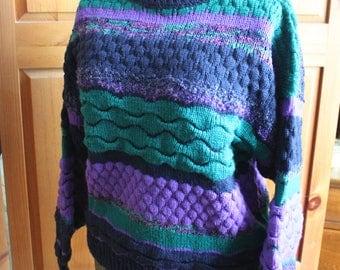 Vintage 1980's oversized knit textured multi-colour crewneck sweater by Tu Janz