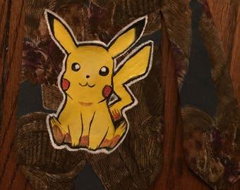 Pikachu Hand Painted on Vintage Necktie