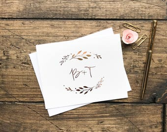 Wedding Thank You cards. Gold Foil Rose Gold Personalized Thank You cards. Wedding Gift. Thank You's customized Cards Stationery Set