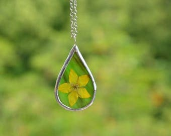 drop glass necklace, flower boho pendant, delicate necklace, summer jewelry, nature lovers gift