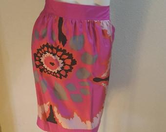 Vintage 90s MISSONI Silk Skirt Op Art Psychedelic Print M