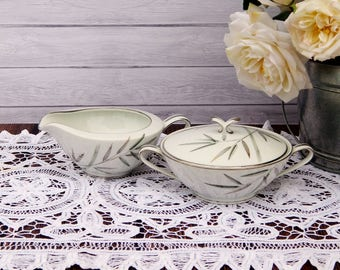 Vintage NORITAKE BAMBINA Sugar Bowl & Creamer Set, Noritake China Japan Bambina 5791 Creamer Sugar Bowl White Green Gray Bamboo Platinum Rim