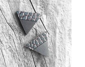 Gray Leather Stud Earrings