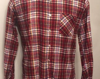 Vintage MENS 70s-80s Sears Perma-Prest white, blue, red & yellow plaid flannel shirt , size large, dead stock
