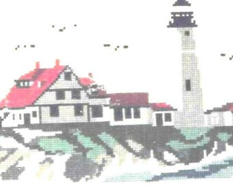 Portland Head Light Counted Cross Stitch Pattern Book Charted Design Needlework Wendy Howe Nautical Needlework Maine's Oldest Lighthouse