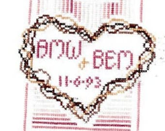 Marilynn and Jackie's Collectibles Wreath Wedding Counted Cross Stitch Pattern Wedding Sampler Charted Design Needlework Chart Pack Rare OOP