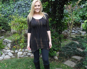 Plus Size Tunic, Tunic Top, Tie Dye Tunic, Tunics, Plus Sizes,  Womens Top. Black with Brown, S M  L XL 2X 3X. Scoop neck
