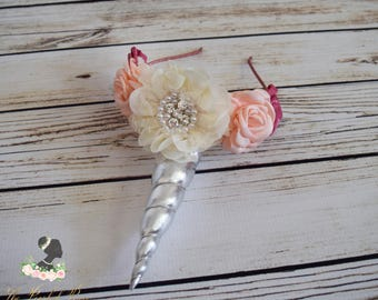 Handcrafted Silver Ivory Blush Vintage Pink Unicorn Horn Headband - Adult Unicorn Headband - Unicorn Costume Accessory - Christmas Gifts