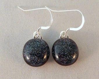 Small Gray Dichroic Fused Glass Dangle Earrings, Fused Glass, Fused Glass Earrings, Glass Earrings, Dichroic, Dangle, Dichroic, Grey, Gray