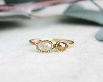 Natural Diamond Engagement Ring 14k Gold, rose cut diamonds, gray diamond, brown diamond, two stone ring, engagement ring set, eco friendly