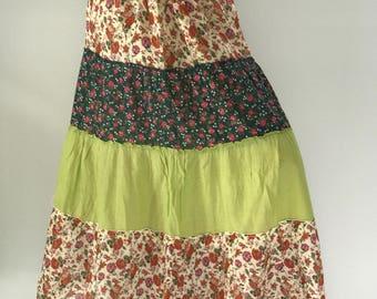 SK0009 Floral Maxi Skirt for Beach Summer ,bohemian maxi skirt,gypsy skirt/boho skirt/cotton skirt/festival skirt