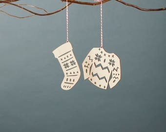 Stocking and Holiday Sweater Ornaments- Lasercut Birch (set of 2)
