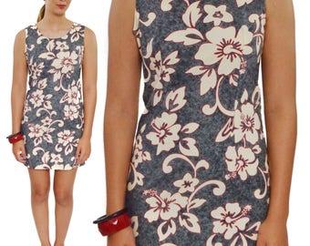 Vintage 90s Jade Fashions Hawaiian Floral Sheath Dress