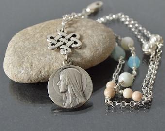 Catholic Religious Jewelry, Virgin Mary Necklace, Catholic Religious Medallion, Saint Pendant Necklace, Religious Medal Catholic Charm