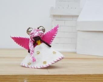 Waldorf Fairy Doll - waldorf fairies, felt fairy doll, felt fairies, felt waldorf doll, black fairy doll, black fairies, miniature fairy