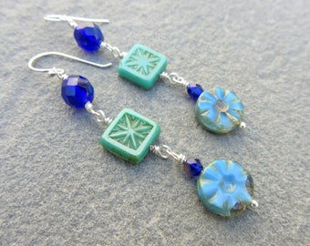 Beachy Blue Dangle Earrings, Shades of Blue, Cobalt Aqua Periwinkle Blue Earrings, Happy Blue