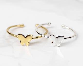 Sterling Silver Butterfly Ring • Gold Butterfly Ring • Butterfly Jewellery • Tiny Butterfly Ring • Adjustable Ring • Dainty Silver Ring