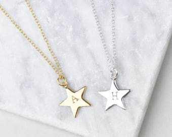 Sterling Silver Star Necklace • Star Initial Necklace • Star Pendant • Tiny Star Necklace • Personalised Necklace • Initial Jewelry