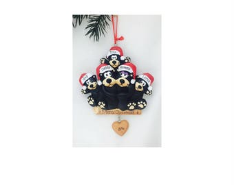 5 Black Bears Family Ornament / Personalized Christmas Ornament / Family of Five Bears / Christmas Ornament
