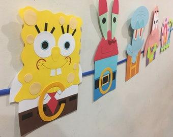spongebob, spongebob party, spongebob birthday, spongebob Patrick, Mr Krabs, squidwards, Gary