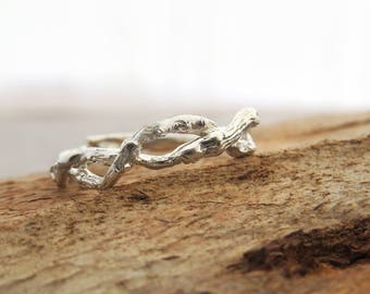 Braided wedding band, Unique wedding band, braided ring, Braid gold ring, 14K Gold Ring, Twig Ring, Branch Ring, Bark Ring, Natural Ring