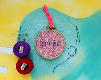 Feminist hoop - hand printed fabric, pink cloud gift for a feminist