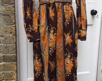 Vintage 1960s Dollyrockers folksy maxi dress