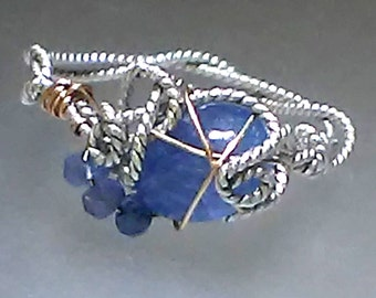 Rustic Tanzanite Ring Twisted Recycled Sterling Silver 18kt Rose Gold Wire Wrapped Ring One Of A Kind 2.39ct