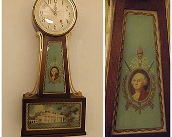 30s Vintage Plymouth Clock Co George Washington Banjo Wall Clock