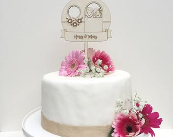 Vintage Caravan Wedding cake topper - Wedding topper - Caravan Topper - Cake topper