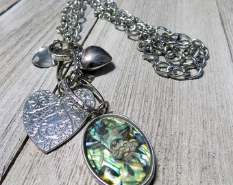 charm necklace antique silver tone statement piece large thick chain boho style