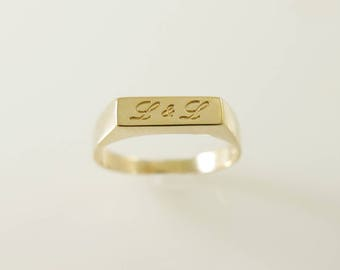 Gold name ring. Personalized name ring. Word ring. Name gold ring. gold name ring. signet ring.  name  initial ring