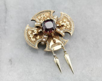 Victorian Era Rhodolite Garnet Brooch, Antique Gold Brooch, Victorian Estate Jewelry VX5HVY-R
