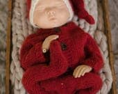 Newborn Footed Christmas Knit Outfit - Newborn Knit Santa Outfit - Newborn Knit Santa Sleep Hat - Knit Santa Hat - Knit Footed Sleeper - RTS