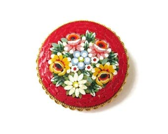 Italian Micro Mosaic Pin/ Round Red Micromosaic Brooch/ Pink Floral Gold Tone  / Yellow and white Flowers Roped Bezel Pin