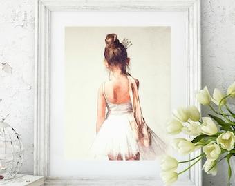 Sweet Ballerina Watercolor Art Print, Ballet Dance wall art, girls bedroom nursery decor, little ballerina dancer, dance teacher gift,