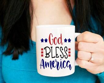 Patriotic Mug, God Bless America, July 4th Mug, Fourth of July Mug, Gift for Her, Gift for Him, Mug for Her, Summer Mug, Gifts under 20, Mug