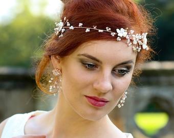 Rose Gold Baby breath headpiece ,Wedding Hair Piece ,Pearl Crystal Hair Vine , Bridal Tiara,  Bridal Headband- BELLA UK