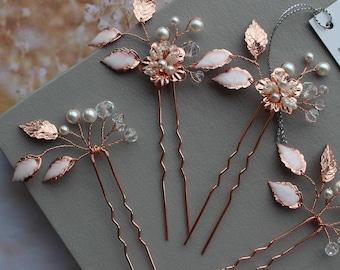 Rose Gold Bridal Headpiece,Wedding Hair piece, Wedding Hair pins ,Leaf  Hairpiece,  Wedding hairpiece ,Bridal Hair pins